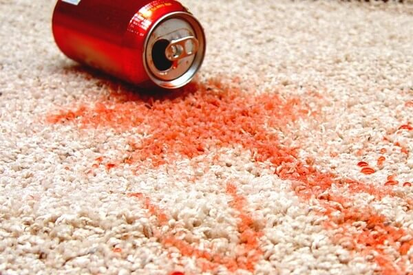 red soda stain on white carpet in chesapeake home